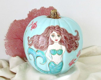Mermaid Painted Pumpkin, Coastal Fall Decor, Beach Thanksgiving Table Decor, Mermaid, Beach Pumpkin, OOAK Pumpkin, Faux Pumpkin