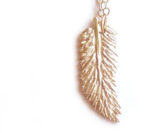 Feather Necklace - Brass Feather Necklace - Hand Carved - Feather Jewelry - Boho Necklace - Gifts Under 35 - Made In Brooklyn - Andyshouse