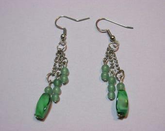 Earrings Green Agate Silver Chain Beads