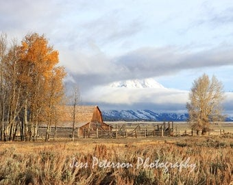 Landscape Photos, Grand Teton Mountains, Moulton Barn art, Rustic Home Decor, Western decor Wyoming Photography Wall Art Mormon Row Print