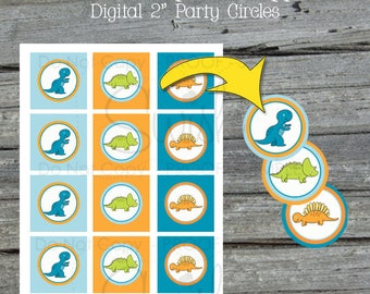 Dinosaur Cupcake Toppers | Printable Cupcake Toppers| Blue Orange | Dinosaur Party | T Rex | 1st bday | Digital Download | Instant Download