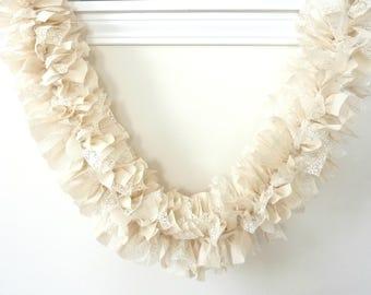 Ivory Rag Garland, Wedding Garland, Wedding Rag Garland, Ivory Lace, Muslin, Burlap Garland, Fabric Garland, Bridal Shower Garland, Wedding