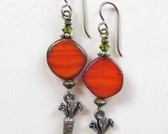 Orange Czech Glass and Carrot Beaded Niobium Earrings - BeadedTail - Carrot, Garden, Bunny