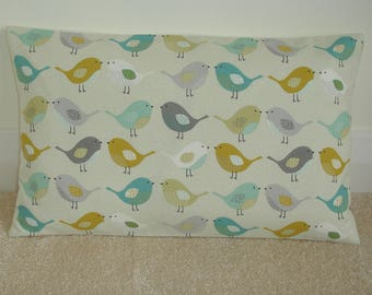 "12x16 Saffron Ochre Gray Teal Duck Egg and Grey Kissing Birds Pillow Cover Bird 16""x12"" Cushion Case Sham Slip Pillowcase 16x12 Scandinavian"