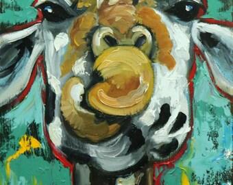 Giraffe #15 -  12x24 inch animal original oil painting by Roz