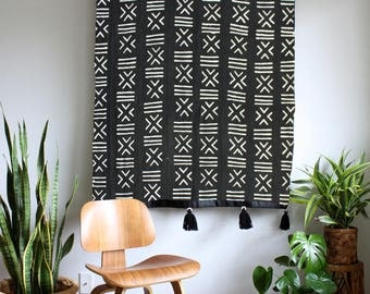 Black Mudcloth African Wall Hanging, Mud Cloth Large Wallhanging, Pom Pom Throw Blanket, Tassel Tapestry, Bohemian Home Decor
