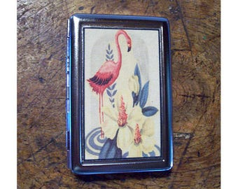 pink flamingo metal wallet retro vintage 1950's Florida cigarette case rockabilly kitsch