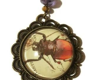 30 inch long Beetle Bronze Necklace