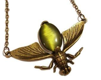 Olive Vintage Bronze Bug Necklace