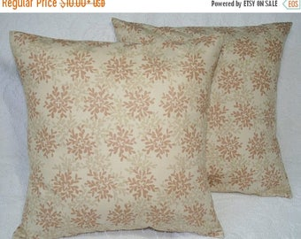 20% OFF SALE One Tan Brown Leaves Decorative Throw Pillow Cover 12x16 16x16 18x18 20x20 Leaves in Twig Brown Accent Cushion Pillow Cover  (1