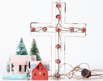 Vintage Christmas Cross with Red Lights