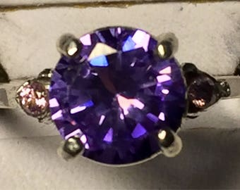 Lavendar zircon with pink sapphires ring size 8