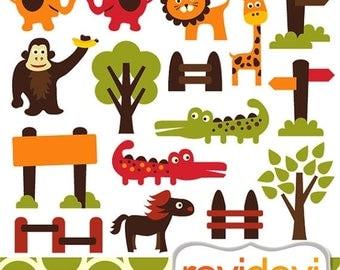 50% OFF SALE Animals clip art - Retro Zoo Clipart.. Commercial use digital graphic clip art