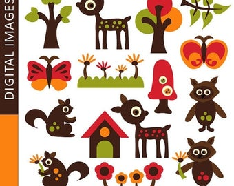 35% OFF SALE Woodland animals clipart / Simply Retro Woodland - Commercial use digital clipart embellishments - Digital images - deer, squir
