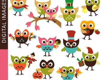 35% OFF SALE Holidays owls clip art - OWL clipart / Cute owl digital images / Retro Holiday Hoot.. Instant download / holidays clipart