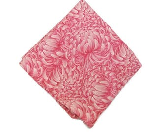 Pink Pocket Square , Chrysanthemum Print Hankie , Hand Rolled Edge Hanky , Floral Suit Handkerchief , Mens Gift for Fathers Day