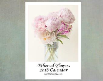 2018 Flower Calendar, Ethereal Flower Desk Calendar,  2018 Photo Calendar,  5 x7, Stocking Stuffer, Peony, Iris, Rose, Magnolia, Tulip