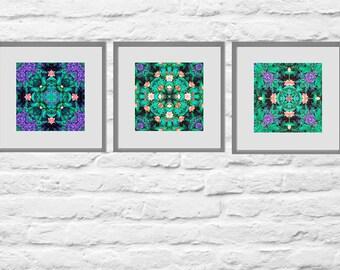 Printable Mandala Art Set, Ultra Violet Purple  Zen Art, Three Prints, Meditation Art, New Age Decor, Instant Download