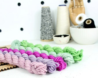 ultra violet  ... handspun yarn set, weaving creative yarn bundle, hand spun, hand dyed yarn, handspun art yarn