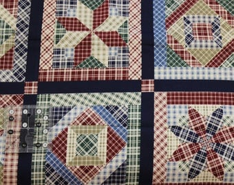 "Joan Messmore 7 3/4"" Quilt blocks fabric 100% cotton fabric  42""-44"" wide by Cranston Print works"