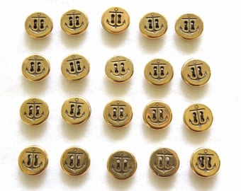 Supplies - 20 matching anchor buttons, gold anchor buttons, navy buttons, nautical buttons