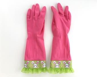 Designer Cleaning Gloves. Size Small, Medium or Large. Easter Bunny Dishwashing Latex Kitchen Gloves.