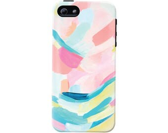 Colorful Abstract Art Cell Phone Case (fits all types of phones) - Confetti Abstract Pattern - Tough case with rubber bumper and liner