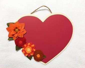 Flower Chalk Paint Heart, Wood Plaque, Floral Wall Decor, Wall Hanging, Felt Flower Chalk Board, Wedding Decor