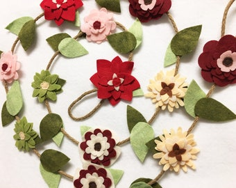 Flower Garland, Winter Cherry Red, Felt Flower Garland, Posable Twine, Mantle Decoration, Wedding and Party Decor