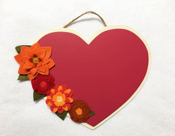 Flower Chalk Paint Heart, Wood Plaque, Floral Wall Decor, Wall Hanging, Felt Flower Chalk Board, Wedding Decor
