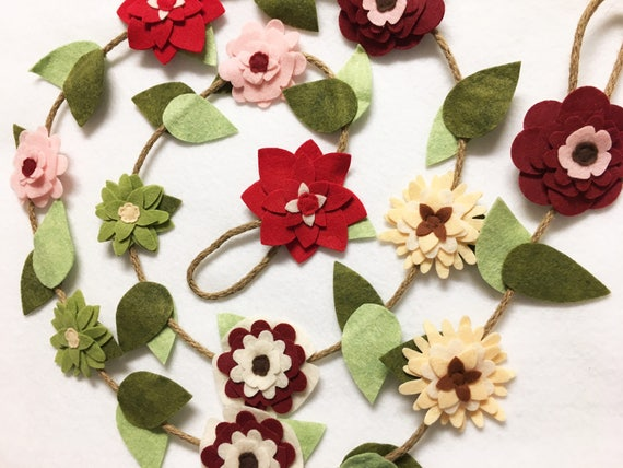 Flower Garland, Winter Cherry Red, Felt Flower Garland - Made to Order, Posable Twine, Mantle Decoration, Wedding and Party Decor