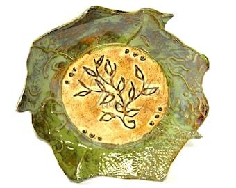 Stoneware pottery bowl - handmade pedestal bowl - vining leaf design - display bowl