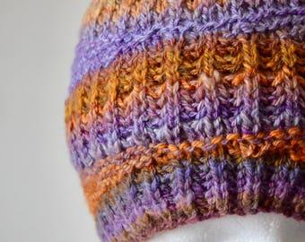 Mantis Shrimp Beanie - Hand Knit Hat in Handspun Hand-Dyed Merino Wool. Purple, Orange, VIbrant Colors - One of a Kind Handknit Fall Beanie