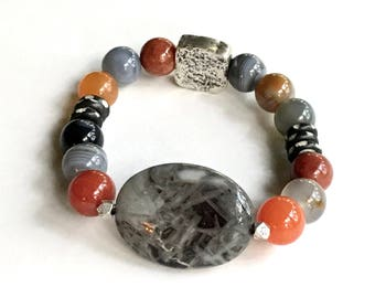 Silver Needle  Agate Bohochic  Beaded  Bracelet,  One of a Kind,  Boutique Wearable Art, for Her Under 275, Free US Shipping