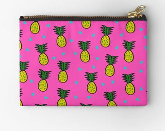 cute modern carry-all bag with bold colorful pineapple pattern design- coin purse- pencil case- make up bag- purse organizer- gift for her