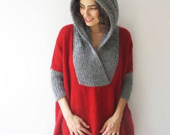 20% WINTER SALE Plus Size Sweater with Hoodie - Red- Gray - Poncho - Tunic - Dress by Afra