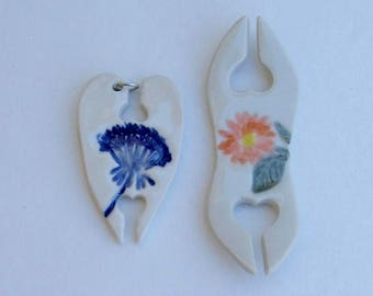 PorcelainTatting Shuttles, Handmade, Set of Two, Queen Ann's Lace and Sunflower