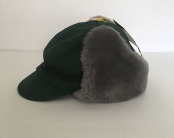 Toddler Size Winter Autumn Hat 1950's  Deadstock Forest Green Twill with Grey Faux Fur Ear Flaps Kids Hat size 6 1/8