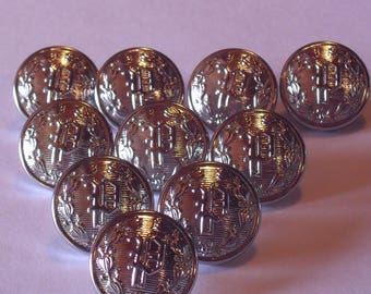 10 Small Silver Letter P Police Buttons