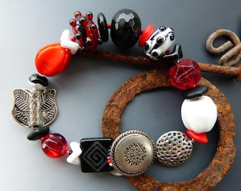 Red, Black, White and Silver Beaded Bracelet