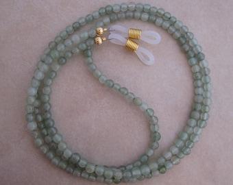 green aventurine eyeglass chain holder gold ends