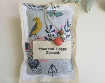 fabric scrap lavender sachet, little hanging word pillow sachet, bird, feather modern thankful happy blessed sachet bead ornament - No. 92