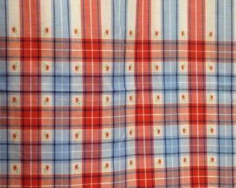 Vintage 1970s Red White Blue Stripe Plaid Fabric - 2-1/3 Yards - Fabric Yardage / Vintage Yardage / Cotton Fabric / 1970s Fabric