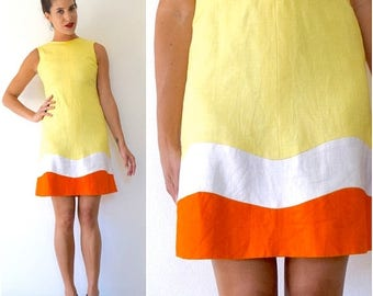 SUMMER SALE/ 30% off Vintage 60s Make Lemonade Yellow Linen Orange and White Striped Shift Dress (size xs, small)