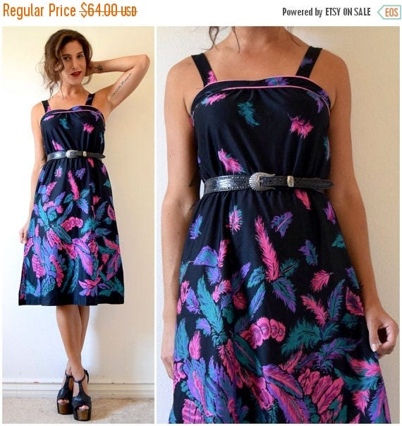 SUMMER SALE / 20% off Vintage 70s Fine and Feathered Novelty Print Sundress (size small, medium)