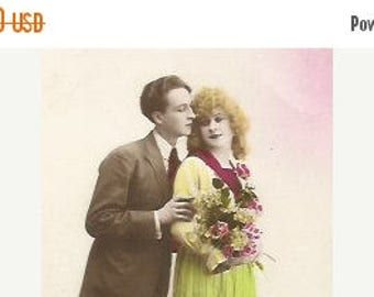 ON SALE Antique 1910/1920 postcard  French real photo recolored couple/lovers/Valentine