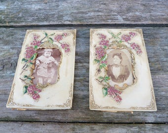 Vintage Antique 1850 /1900s Victorian French embossed  painted celluloid  pair of photo frames