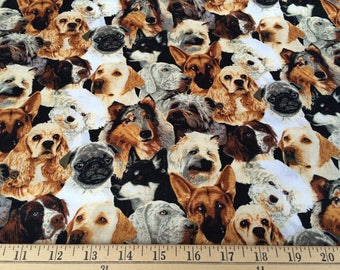 Fabric Traditions, Dog Fabric, Puppies, Quilting cotton - FAT QUARTER