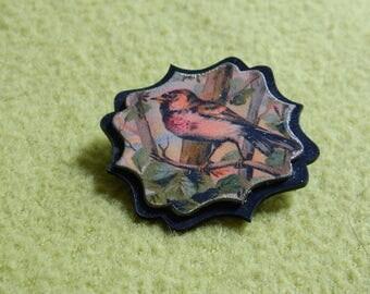 Bird brooch - redpoll brooch - bird jewelry - Hand made brooch -  victorian graphic - Linaria canescens