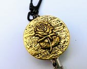 Gold Rose HEAVY DUTY Steel Cable Badge Holder